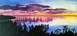 Bermudian Sunset   acrylics on box canvas