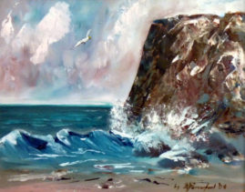 Wave Swept Cliffs  Oil on hardboard