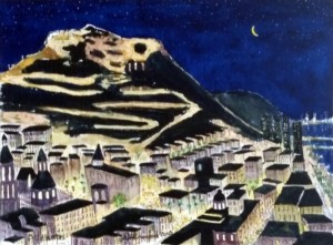 """Alicante"" as seen from multi-storey hotel room balcony. Water colour image 310 x 225 mm"