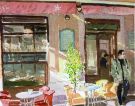 "Water colour titled: Café De L'Abuela""  Grandma's café in Malaga old town. Image 240 x 200 mm"