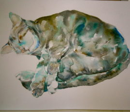My Cat - watercolour - Sold