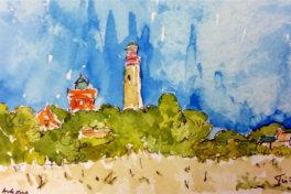 Kap Arkona, Insel Ruegen, Germany,  watercolour & ink by Trish Gurney, Aug 2015  water colour sketch , post card size
