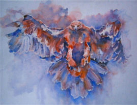 """Graceful Landing"" water colour,  16 X 10 inches  -  £70,  framed"