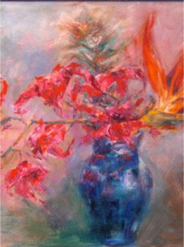 """Blue Metal Vase"" oils on board,  40 X 30 inches - £300  framed"