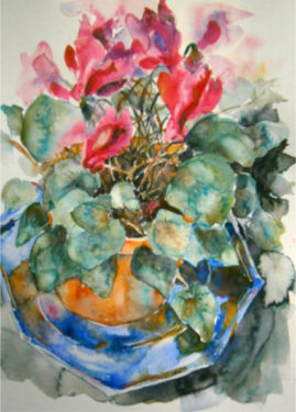 """ Blue Plate With Pink Bloom"" water colour, 16 X 10 inches £60  framed"