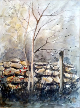 'Autumn Scene'  Pen and Wash