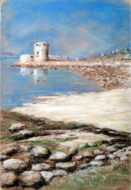 'Cromwells Castle, Tresco'    Pastel