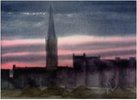 Sunset Over Newark Market - Watercolour NFS