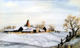 Farm Scene in Winter   a water colour