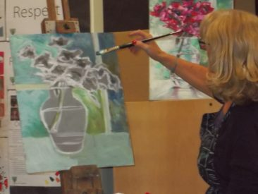 Lynne demonstrating water soluble oils