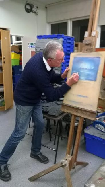 Roger demonstrating pastels