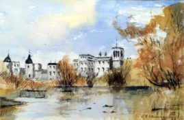 Thames View in water colour