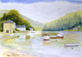 "15""x 11"" watercolour, titled: ""Lerryn"""