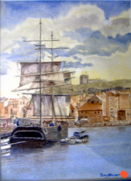 "15""x11"" watercolour, titled: ""Sutcliff's Whitby"""
